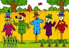 Scarecrows in the garden Stock Photos