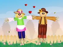 Scarecrows in love Royalty Free Stock Image
