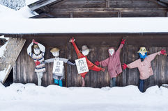Scarecrows with snowy view in Japan. Stock Image