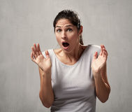 Scared afraid woman Stock Photography