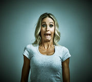 Scared afraid young woman fear. Royalty Free Stock Photos