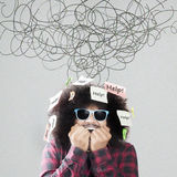 Scared Afro man with help words Royalty Free Stock Images