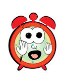 Scared Alarm clock cartoon Stock Photography
