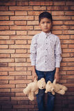 Scared and alone, young Asian child who is at high risk of being bullied, trafficked and abused, selective focus Royalty Free Stock Photo