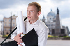 Scared architect before meeting Stock Images