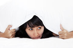Scared Asian Woman Hiding Royalty Free Stock Photography