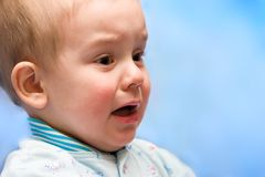 Scared baby boy Royalty Free Stock Image