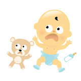 Scared baby and teddy bear Stock Photography