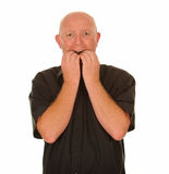 Scared Bald Man stock images