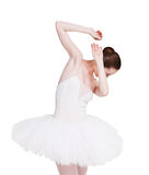 Scared ballerina portrait isolated on white background Royalty Free Stock Photo