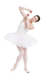Scared ballerina portrait isolated on white background Stock Images
