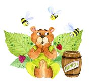 A scared bear and bees stock illustration