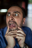 Scared bearded man screaming with frustration Royalty Free Stock Image