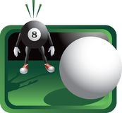 Scared billiard ball cartoon character. Cue ball aiming for the eight ball cartoon character Stock Photography