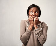 Scared black woman. Royalty Free Stock Photography