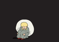 Scared Blond Girl Alone. Illustration of abused child sitting alone in darkness Royalty Free Stock Photos