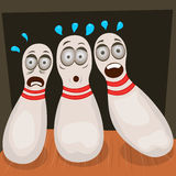 Scared bowling pins Royalty Free Stock Photo