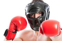 Scared boxer wearing helmet Royalty Free Stock Photo