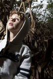 Scared Boy. Boy scared in a haunted forest Stock Images