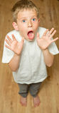 Scared boy. Nervous and scared young boy Royalty Free Stock Images