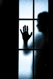 Scared boy behind glass door Stock Photos