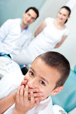 Scared boy at the dentist Royalty Free Stock Images