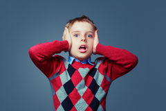 Scared boy isolated Stock Photography