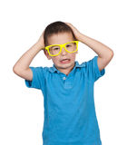 Scared boy. Scared little boy isolated on white background Royalty Free Stock Photo