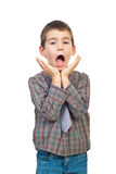 Scared boy shouting Royalty Free Stock Image