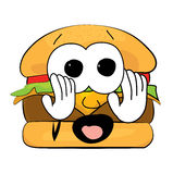 Scared Burger cartoon Royalty Free Stock Photography