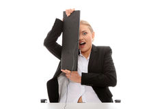 Scared business woman Stock Photography