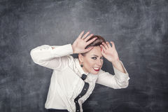 Scared business woman Stock Image