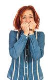 Scared business woman Royalty Free Stock Photos