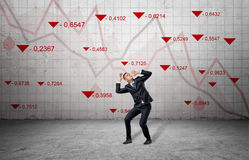 A scared businessman cowers near a concrete wall with red stock market indexes and falling statistic lines. Financial markets. Bear trading. Losing money Royalty Free Stock Images