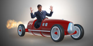 The scared businessman driving vintage roadster Royalty Free Stock Photos