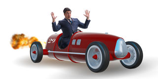 The scared businessman driving vintage roadster Stock Photos
