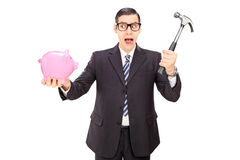 Scared businessman holding hammer and a piggybank Stock Image