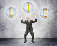 Scared businessman with word lie Royalty Free Stock Photo