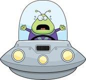 Scared Cartoon Alien UFO Royalty Free Stock Photo