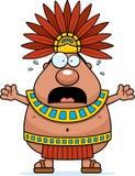 Scared Cartoon Aztec King Stock Photo