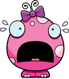 Scared Cartoon Baby Girl Monster Royalty Free Stock Image
