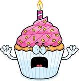 Scared Cartoon Birthday Cupcake Royalty Free Stock Images