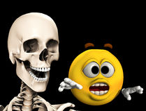 Scared Cartoon With Bones 4. An image of a cartoon head being chased by a scary Skelton Stock Photo