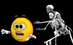Scared Cartoon With Bones 5. An image of a cartoon head being chased by some scary skeletons Royalty Free Stock Photo