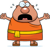 Scared Cartoon Buddhist Monk Royalty Free Stock Photography