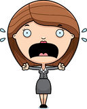 Scared Cartoon Business Woman Stock Photo