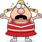 Scared Cartoon Cheerleader. A cartoon illustration of a cheerleader looking scared royalty free illustration