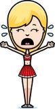 Scared Cartoon Cheerleader. A cartoon illustration of a teen cheerleader girl looking scared vector illustration
