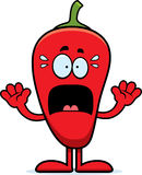 Scared Cartoon Chili Pepper Stock Photos