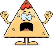 Scared Cartoon Chips and Salsa Stock Photos